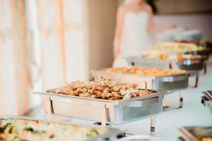 Wedding Catering Wesley Chapel fl. A photo of a bride in the buffet line.