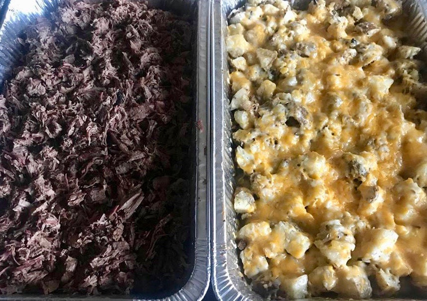Catering Company for Birthday Parties. A photo of a serving containers of Brisket and mac n' cheese